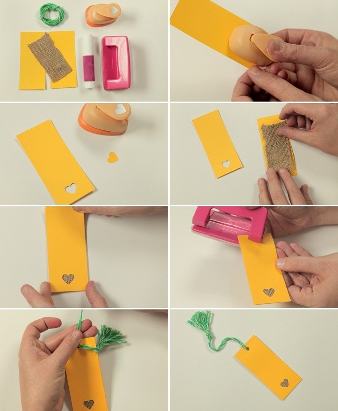 Valentines Day Crafts Kids Can Make Bookmark Paper Burlap Cut-Outs intended for How To Make Bookmarks At Home Easy Designs 27160