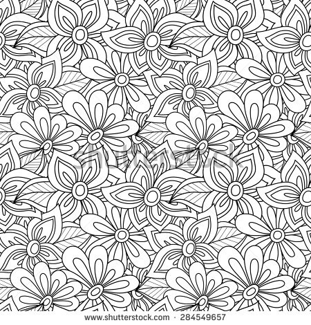 Vector Seamless Monochrome Floral Pattern. Hand Drawn Floral throughout Detailed Flower Pattern Coloring Pages 27079