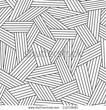 Vector Seamless Pattern With Interweaving Of Thin Lines. Simple with Simple Black And White Line Patterns 28053