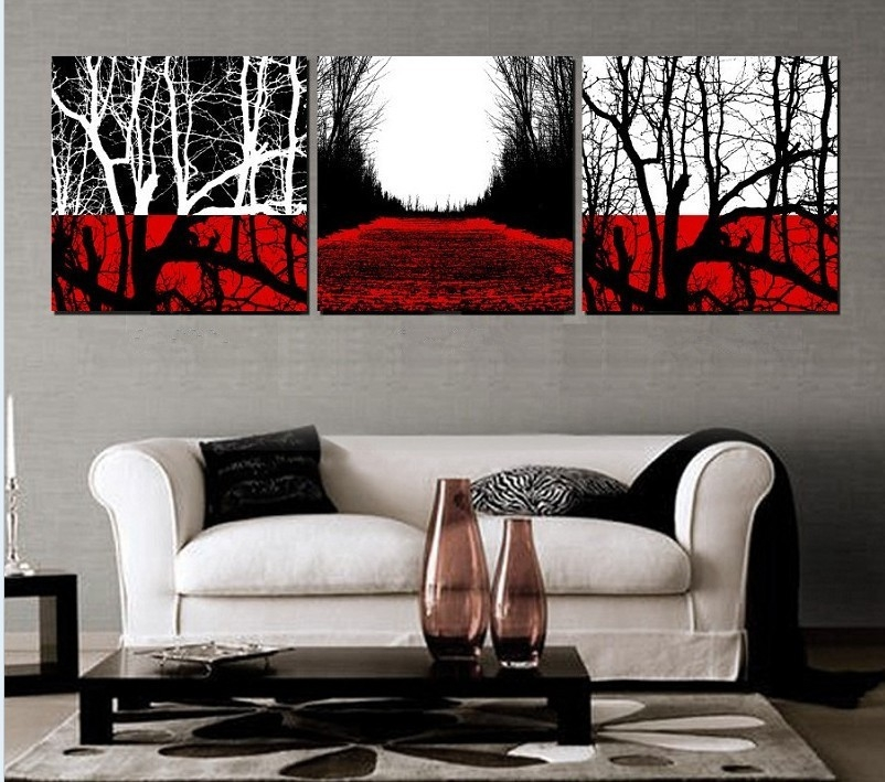Vibrant Inspiration Red And Black Wall Art Popular 3 Piece Black with regard to Black And White Wall Art With Red 26714