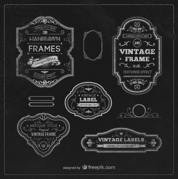 Vintage Labels And Frames Vector | Free Download pertaining to Vintage Label Template Psd 26925