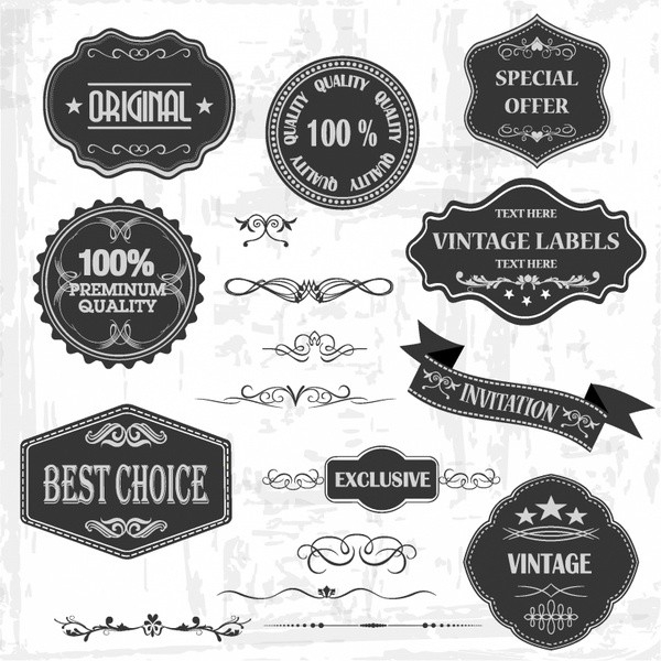 Vintage Labels And Ornaments Free Vector In Adobe Illustrator Ai regarding Vintage Label Free Download 29371