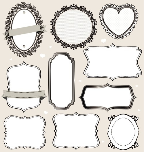 Vintage Labels Frames Vectors 02 - Vector Frames & Borders Free with Vintage Label Template Vector