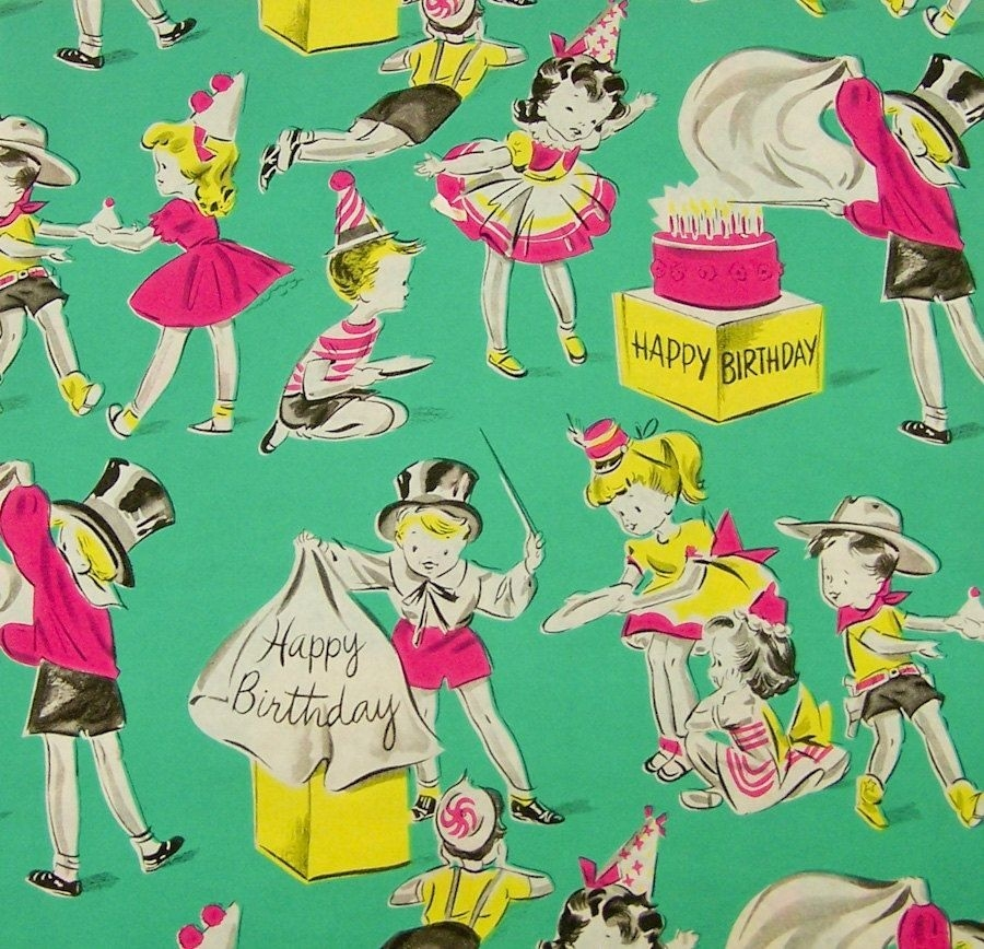 Vintage Wrapping Paper - Google Search | The Junk Drawer | Pinterest intended for Vintage Birthday Wrapping Paper 29512