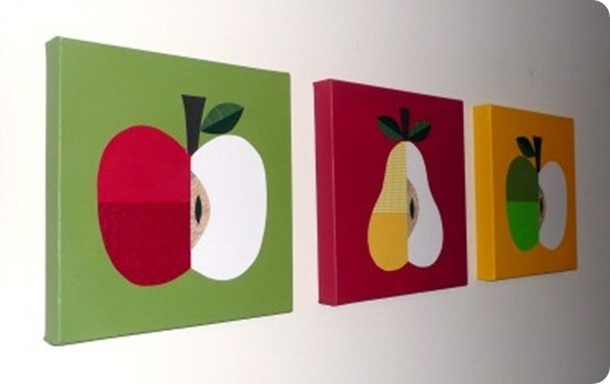 Wall Art Designs: Kitchen Wall Art Ideas Apple And Pear Canvases in Fruits Kitchen Wall Art 27099