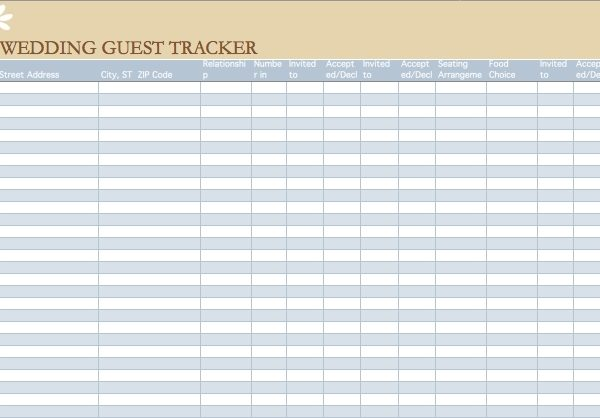 wedding guest list template microsoft excel templates regarding