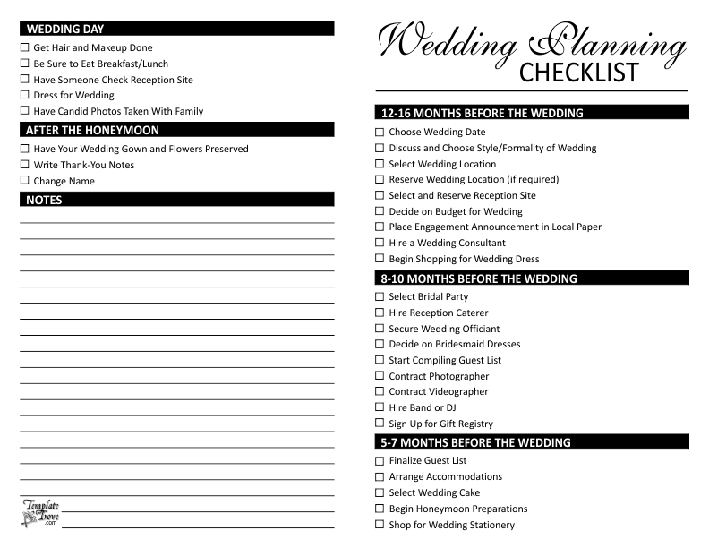 Wedding Planning Checklist Wedding Planning List - Kylaza Nardi for Printable Wedding Planning Checklist 26139