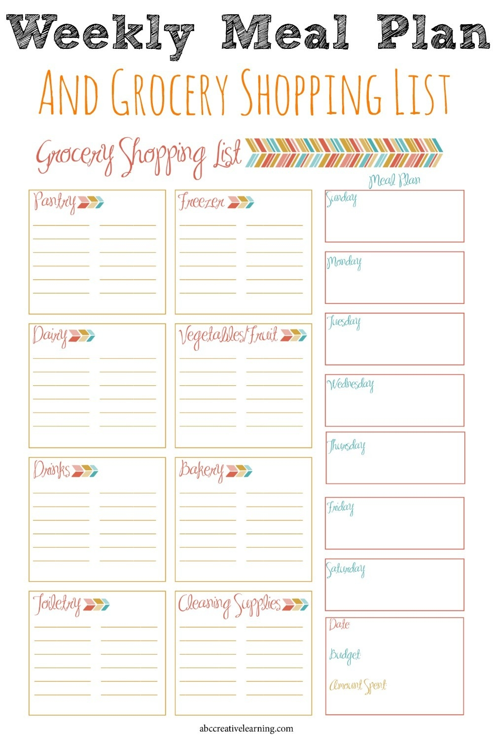 Weekly Meal Planner And Grocery Shopping List | Weekly Meal throughout Meal Planner With Grocery List 25523