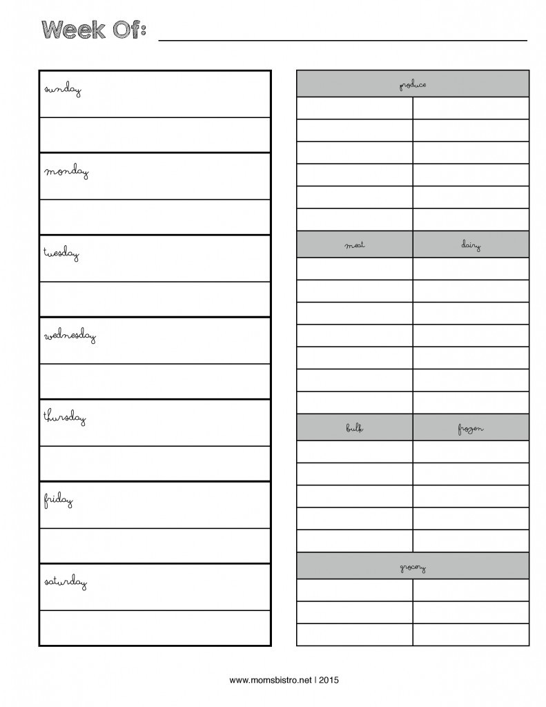 Weekly Menu Planner With Grocery List - New Febrary 2015-Page-001 for Weekly Meal Planner With Grocery List 26302