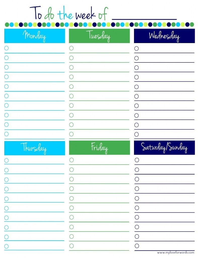 Weekly To Do List Template Free - Zoro.blaszczak.co regarding Printable Weekly To Do List Template 25343