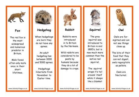 Wildlife Bookmarks To Print For Kids for Cool Animal Bookmarks To Print 26644