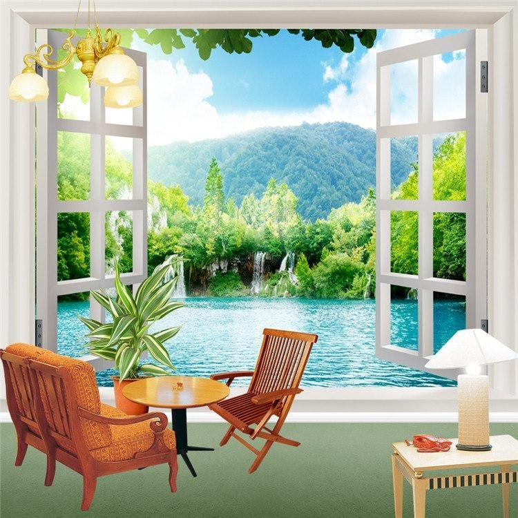 Window 3D Waterfalls Forest View Wall Stickers Art Mural Room pertaining to Wall Art Paintings For Bedroom 3D 30043