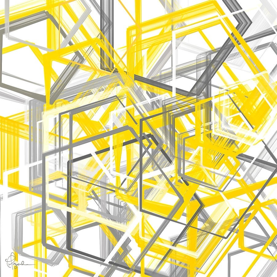Yellow And Gray Geometric Shapes Art Painting By Lourry Legarde with regard to Geometric Shapes In Art 25663