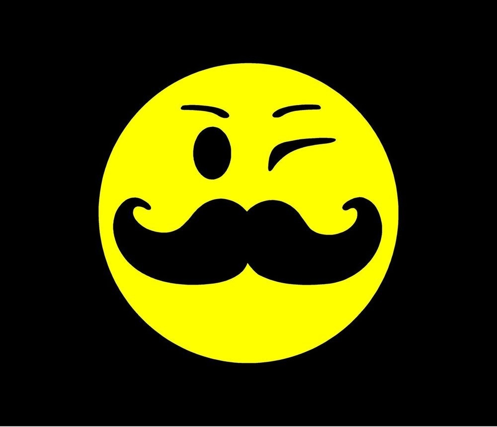 Yellow Smiley Face With Mustache Vinyl Decal Car Window Bumper with Cool Smiley Faces With Mustaches 30584