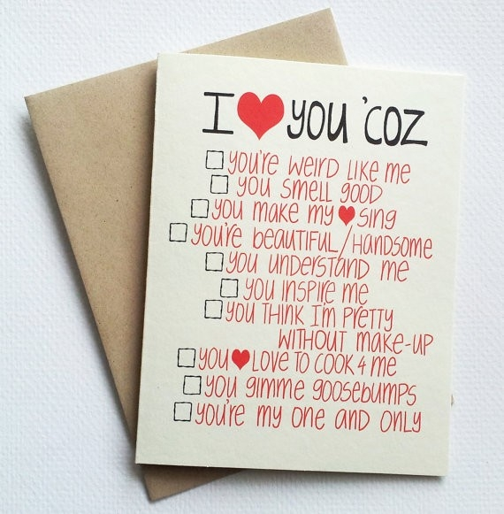 You Could Diy! I Love You Card With Funny List - Romantic inside I Love U Cards For Boyfriend Handmade 30117