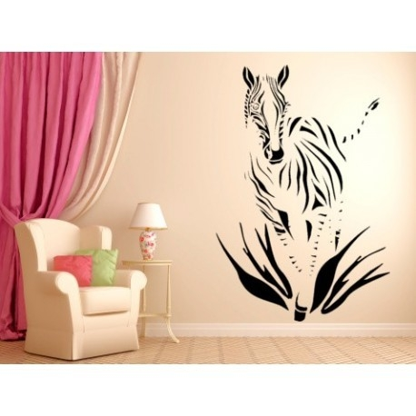 Zebra Comes Out Of The Tall Grass, Wild Animals Wall Decal within Wall Art Paintings For Bedroom 28161