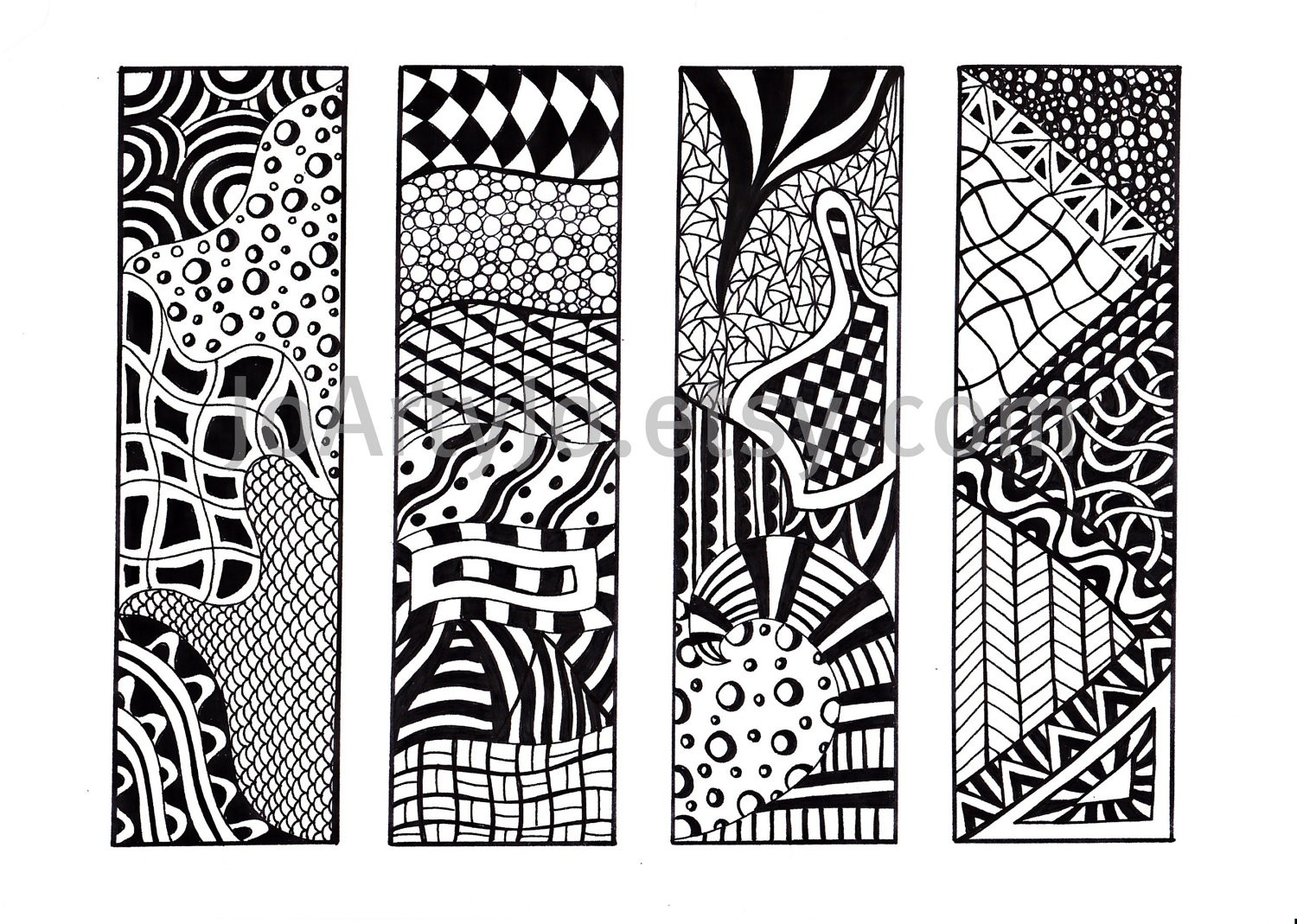Zentangle Bookmarks, Printable Bookmarks, Black And White | Fotofuze intended for Bookmark Designs To Print Black And White 25873