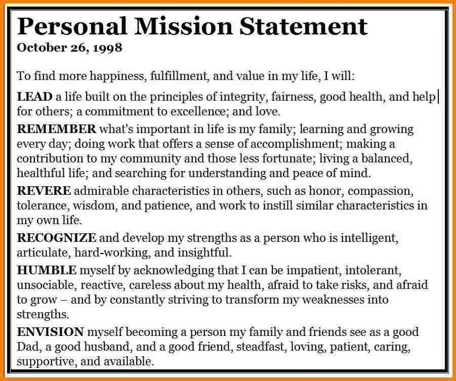 1-2 Examples Of A Personal Mission Statement | Developersbestfriend within Examples Of Personal Mission Statements 58905