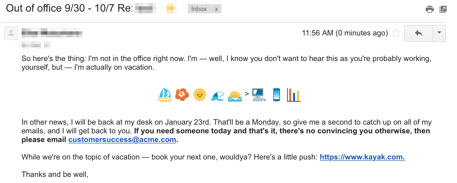 Out Of Office Message Sample | Examples and Forms