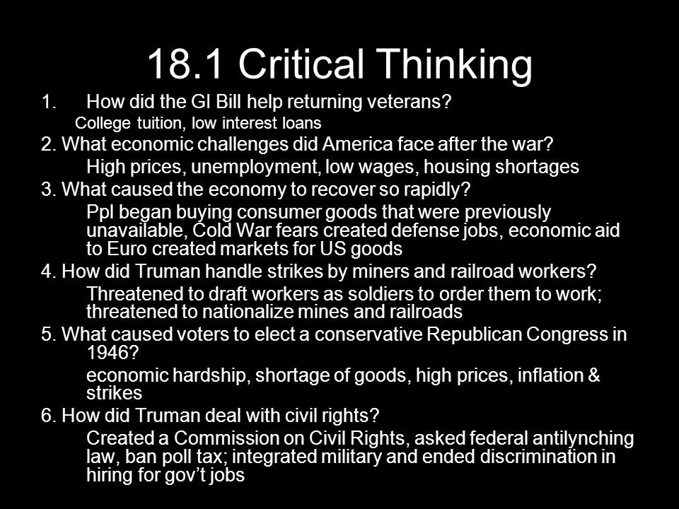 18.1 Critical Thinking 1.how Did The Gi Bill Help Returning Veterans pertaining to How Did The Gi Bill Help Returning Veterans 48074