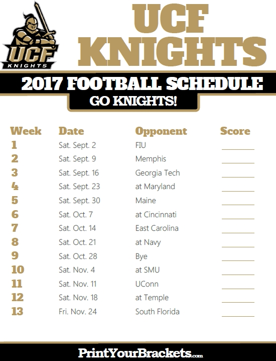 2017 Ucf Knights Football Schedule | Printable College Football in Ucf Football Schedule 48271