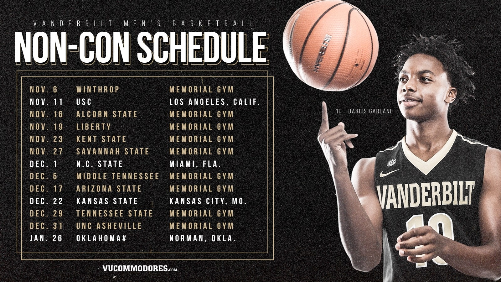 2018-19 Mbb Nonconference Schedule Revealed - Vanderbilt University with Vanderbilt Basketball Schedule 48167