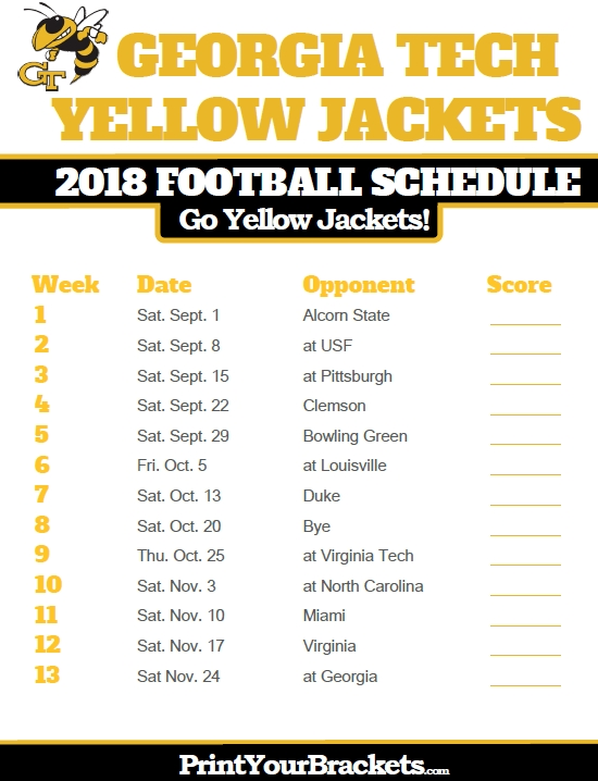 2018 Printable Georgia Tech Yellow Jackets Football Schedule intended for Ga Tech Football Schedule 46116