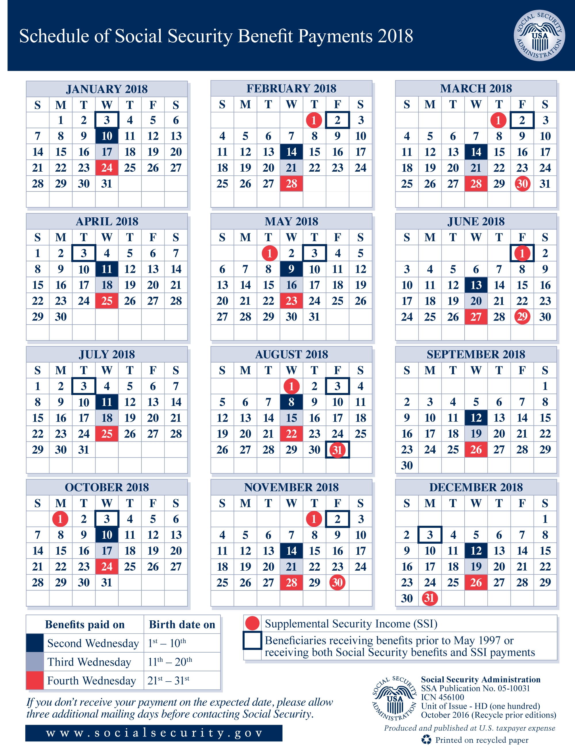 2018 Social Security Payment Schedule | Shifrin Newman Smith for Ssi Payment Schedule 45942