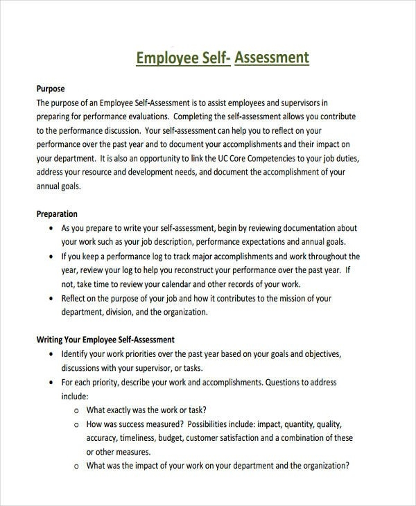34+ Self Assessment Examples & Samples - Pdf, Doc, Pages inside Employee Self Assessment Examples 59256