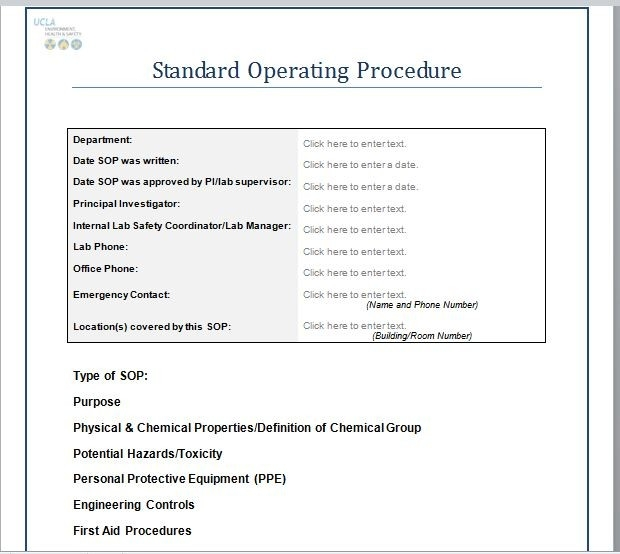 37 Best Standard Operating Procedure (Sop) Templates regarding Standard Operating Procedure Examples 57255