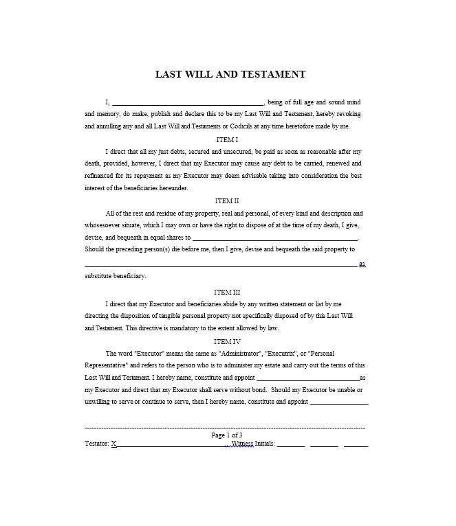 39 Last Will And Testament Forms & Templates - Template Lab with Sample Of Last Will And Testament 57381
