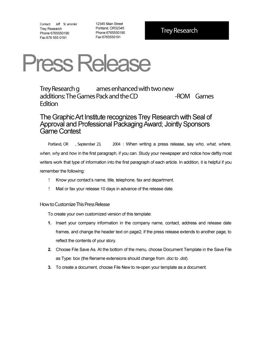 46 Press Release Format Templates, Examples & Samples - Template Lab pertaining to Sample Press Release Format 57393