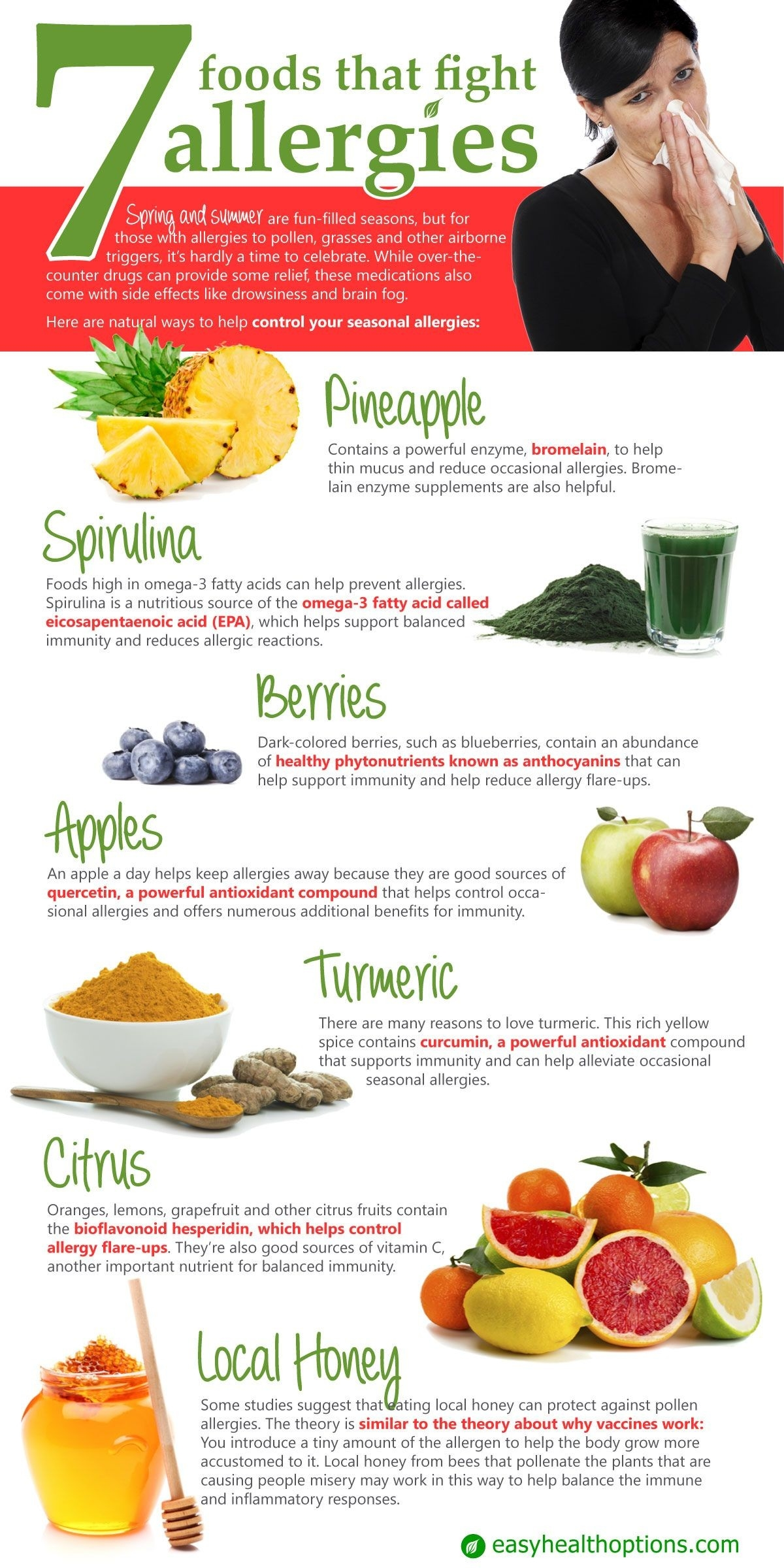 7 Foods That Fight Allergies [Infographic] | Natural Health Tips with regard to What Helps Allergies 47595