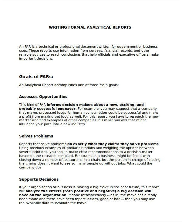 9+ Formal Report Examples, Samples inside Analytical Report Example 58368