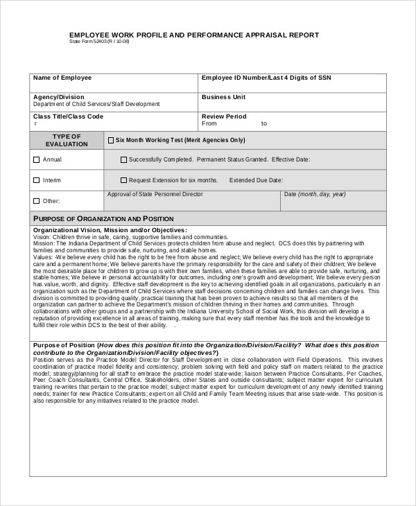 9+ Performance Appraisal Examples - Pdf, Word for Sample Appraisal Report 59104