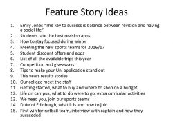 A-Level Media Studies 1St Year: Feature Story Ideas pertaining to Feature Story Ideas
