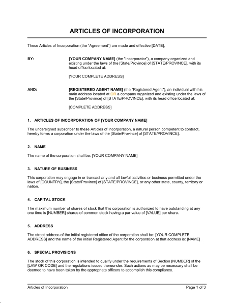 Articles Of Incorporation Template – Word & Pdf | By Business-In-A-Box in Articles Of Incorporation Sample 59526