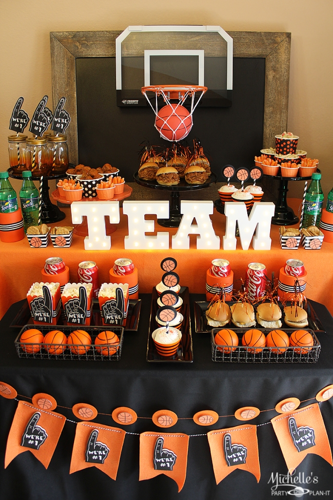 Basketball Party Idea: March Maddness Themed Food & Mini Basketball within Basketball Theme Party Ideas 36055