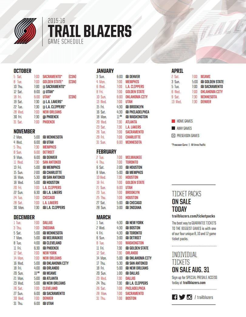Blazer Game Schedule - Emanda Seres inside Blazer Game Schedule 48182