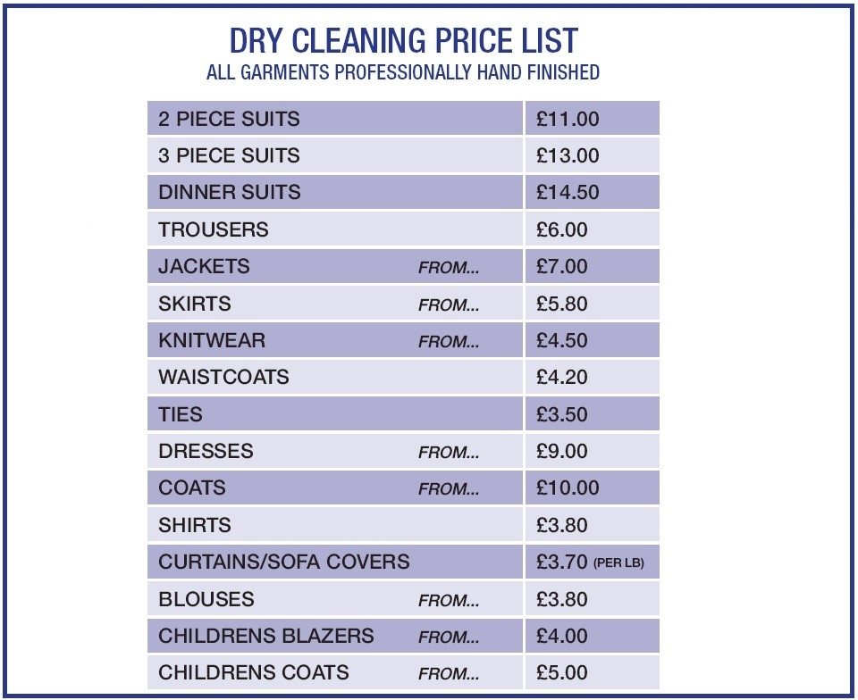 Borras Dry Cleaners & Launderette in Dry Cleaners Price List 37971