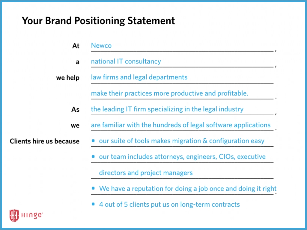 Brand Positioning Strategy For The Professional Services | Hinge pertaining to Brand Positioning Examples 58137