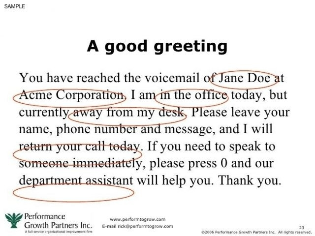 Business Phone Message Greetings Short Voicemail Greetings Examples with Voicemail Greeting Sample 57276