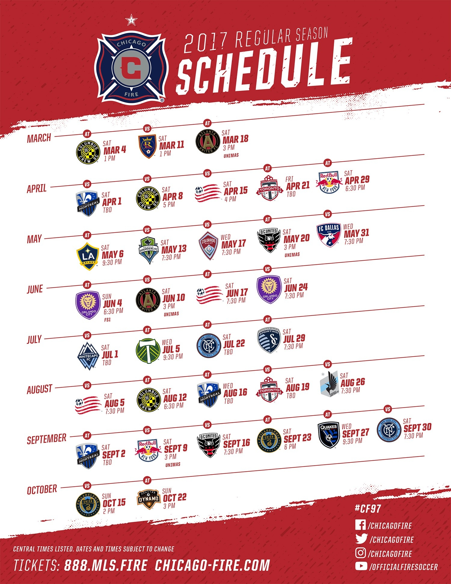 Chicago Fire Unveils 2017 Mls Regular Season Schedule | Chicago Fire within Chicago Fire Schedule 47355