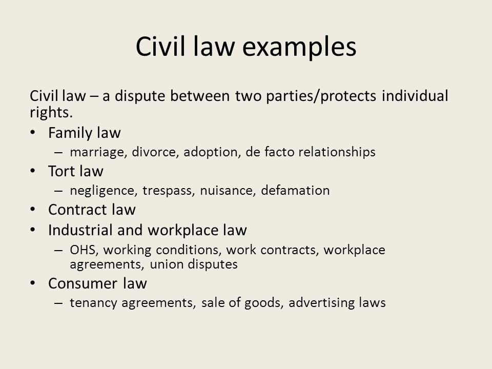 Classification Of Laws Public Law The State Is Directly Involved in Example Of Civil Law 58035
