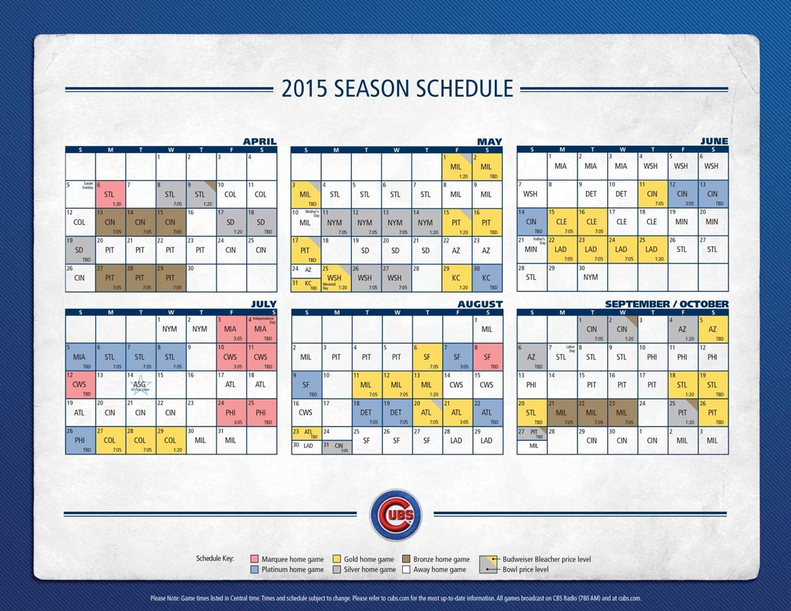 Cubs Release 2015 Ticket Price Tiers - Bleed Cubbie Blue pertaining to Cubs Schedule 2015 47234