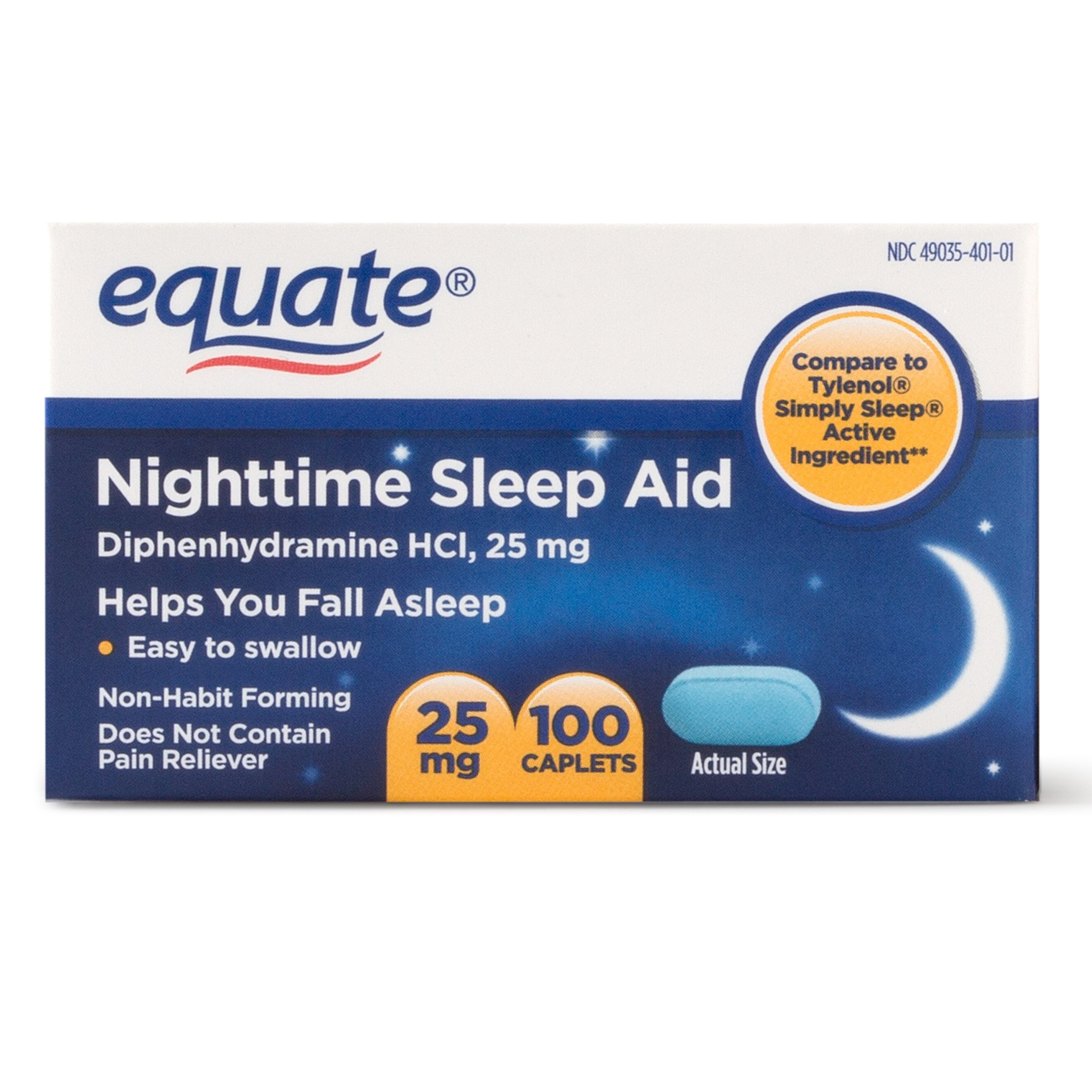 Equate Nighttime Sleep Aid Diphenhydramine Hcl Caplets, 25 Mg, 100 with Pills To Help You Sleep 46005