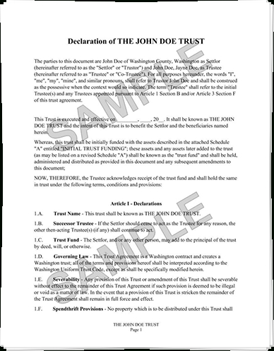 Example Nfa Trust Document with regard to Nfa Trust Example 58695