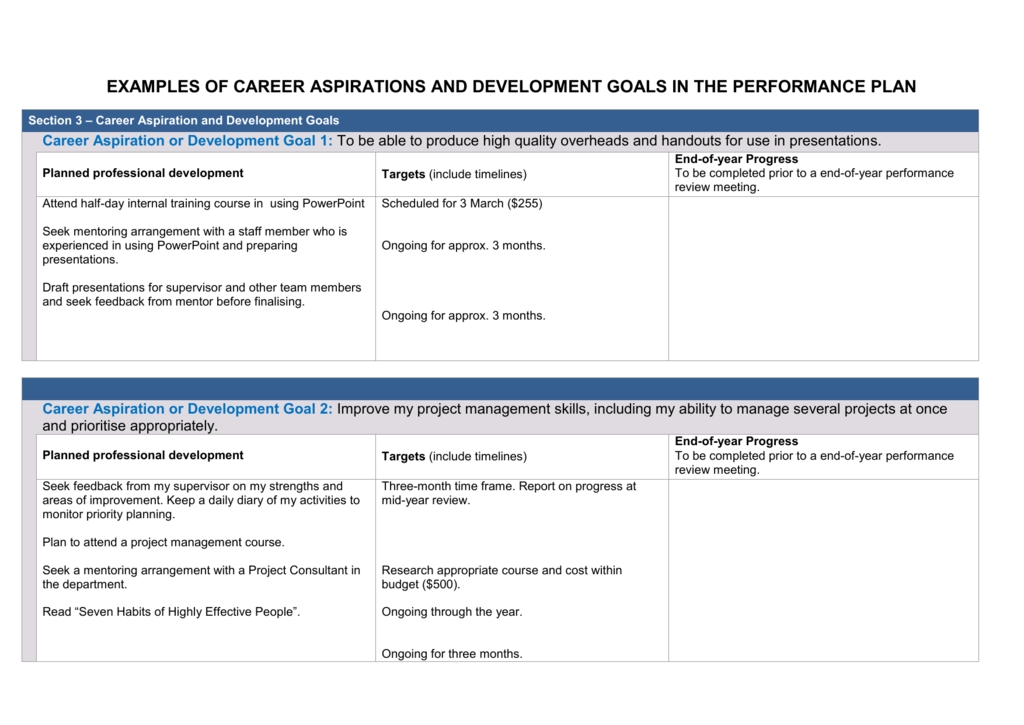 Examples Of Career Aspirations And Development Goals within Development Goals Examples 56557