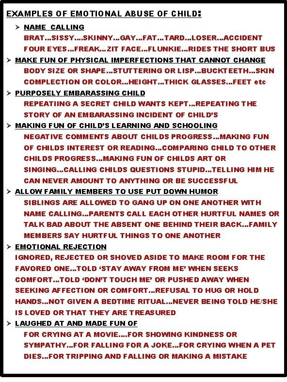 Examples Of Emotional Abuse ~ Very Difficult To Intervene And for Examples Of Emotional Abuse 58653