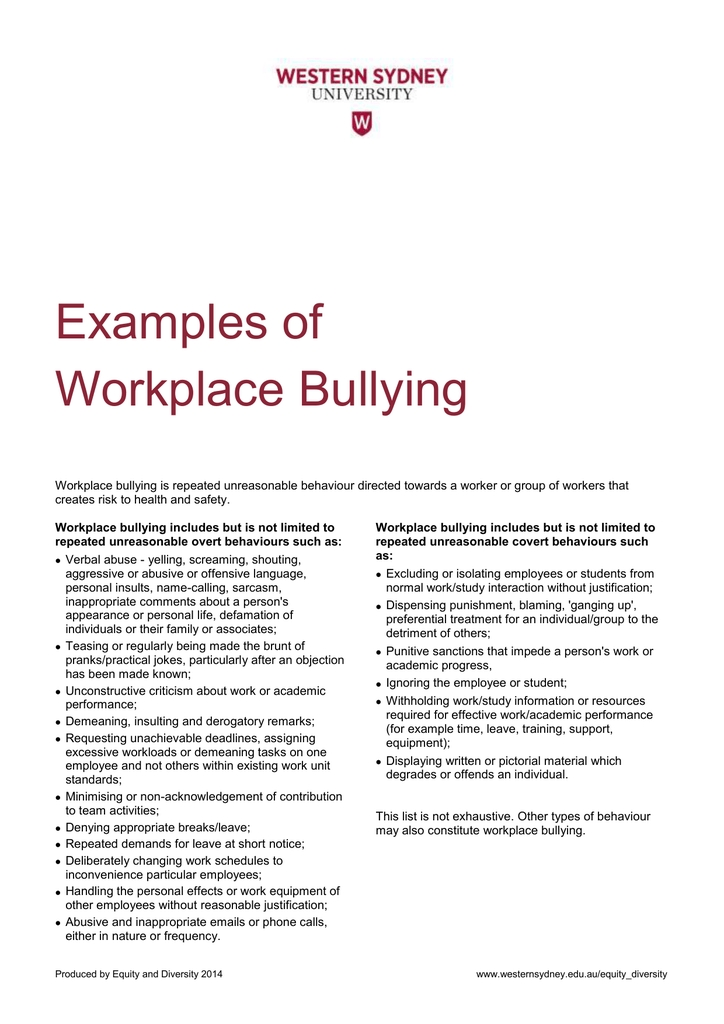 Examples Of Workplace Bullying for Examples Of Workplace Bullying 59502